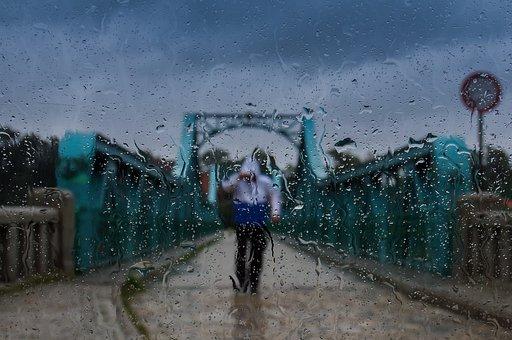 Rain, Weather, Wet, Clouds, Male, Man, Gloomily, Bridge