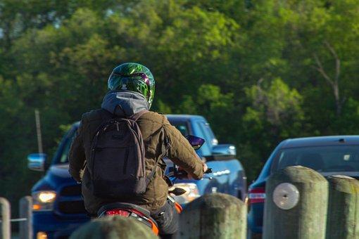 Biker, Bike, Motorcycle, Traffic, Person