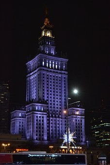 Palace, Kulture, Night, Warsaw, City