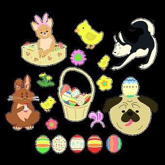 Easter Dog, Easter, Animal, Doggy, Eggs