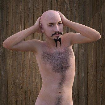 Man, Bald Head, Chest Hair, Head, Face