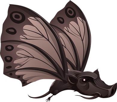 Fantasy, Animal, Butterfly, Wild, Pig, Brown, Flying