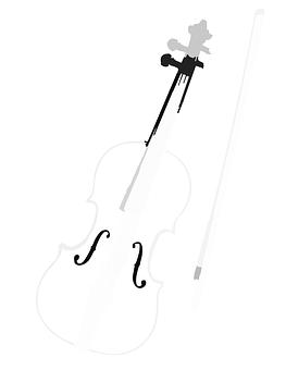 Instrument, Fiddle, Cello, Violin, Bow, Front, White