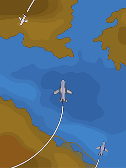 Planes, Sea, Dry Land, Outlines, Flight, Airplane