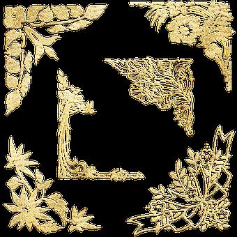 Gold Foil Corners, Garnishes, Corner Fillers