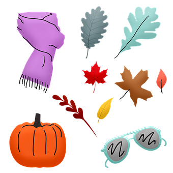 Autumn Leaves, Scarf, Pumpkin, Glasses, Leaves, Human