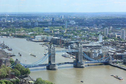 Tower Bridge, Aerial View, River Thames
