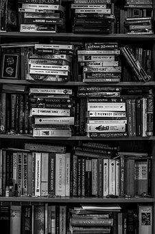 Books, Bookshelf, Library, Black And White, School