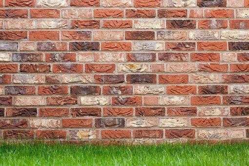 Brick Wall, Clinker Bricks, Clinker Wall, Brick, Grass