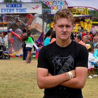 Boy, Indiana, Fair, Young, Carnival, Skeptic