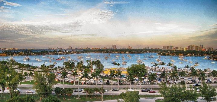 Miami, City, Maritime, Horizon, Boats, Sky, Magnificent