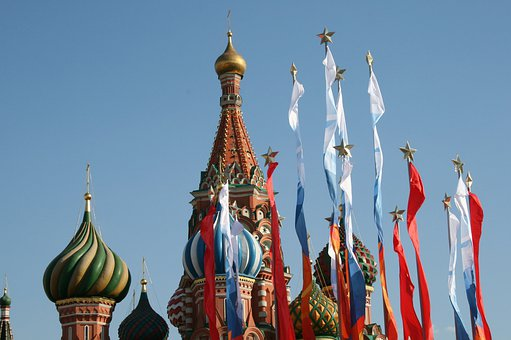 Colorful Flags, Victory Day Flags, Red Square, Blue Sky