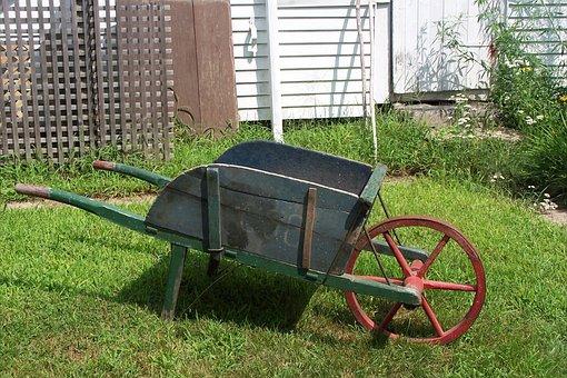 Wheelbarrow, Garden, Country, Nature, Grass, Organic