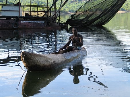Log Boat, Fisherman, Songo, Mozambique, Africa, Dug Out