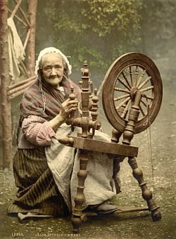 Spinning Wheel, Woman, Old, Fibers, Spinning, Thread