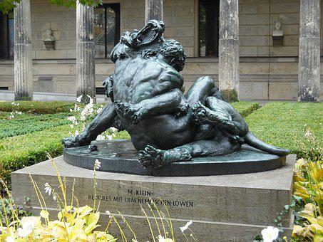 Statue, Berlin, Wrestling, Victory, Fight With A Lion