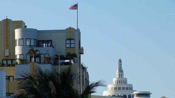 Miami, Beach, Building, Architecture, Florida, Flag