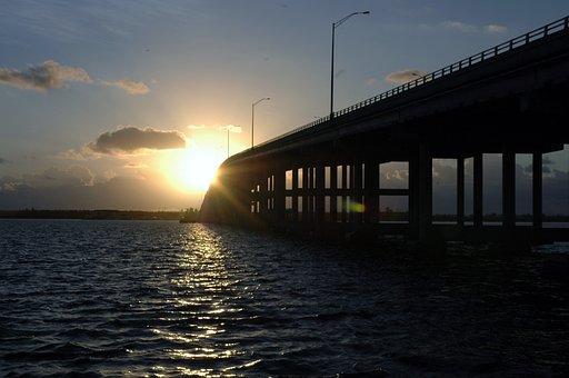 Bridge, Key Biscayne, Sunrise, Florida, Miami, Bay, Sea