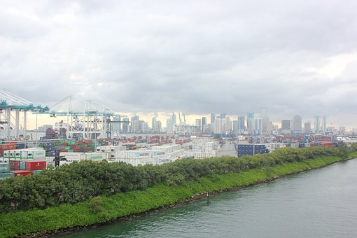 Miami, Harbor, Port, Water, Cargo, Freighters