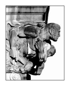 Gargoyle, Statue, Figure, Sculpture, Head, Stone Figure