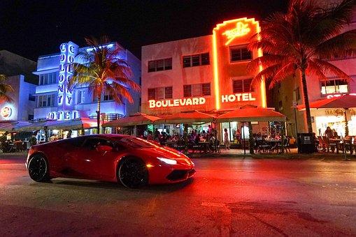 Miami, Neon, Car, Tourism, Hotel, Sign, Illuminated
