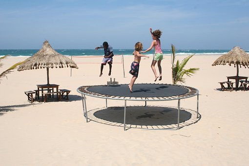 Trampoline, Children, Playing, Infant, Kids, Jumping