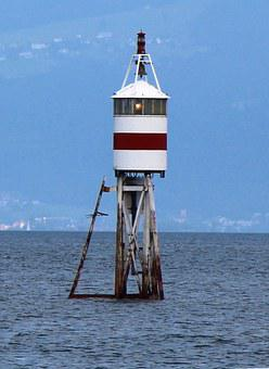 Romanshorn, Lighthouse, Sturmwarnung, Lake Constance