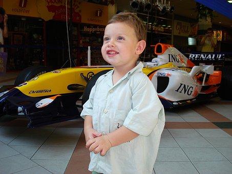 Kid, Little Boy, Forma1, Auto, Smile, Success