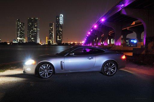 Jaguar, Jaguar Xk, Miami Skyline, Jaguar Car, Miami