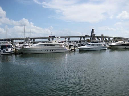 Usa, Miami, Water, Sun, Port, Sea