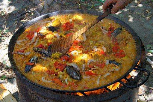 Paella, Cook, Eat, Out, Fire, Spoon, Pan, Main Course