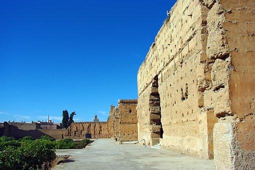 Morocco, Marrakech, Palace Baadi, Ruins, Walls, Stork
