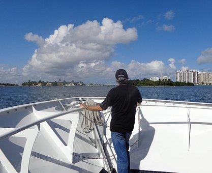 Port Of Miami, Boat, Man Watching, Miami, Port, Sea