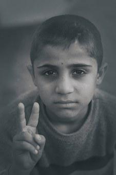 Boy, Young, Gesture, Fingers, Peace, Victory, Portrait