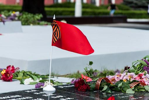 Soviet, Red, Flag, Headstone, Flowers, May 9