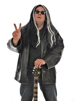 Rock Star, Victory, Peace, Bakery, Guitar, Hair, Man
