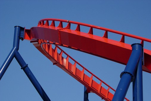 Supports, Blue, Track, Roller Coaster, Red