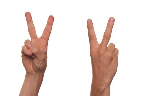 Gesture, Sign Language, Finger, V, Symbol, Man, Human