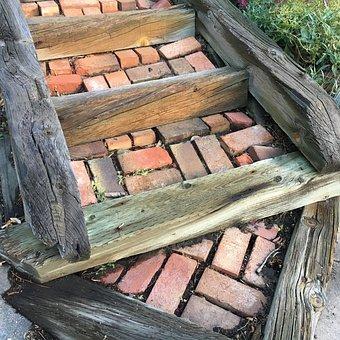 Garden Steps, Brickwork, Landscape, Stairway, Outdoor