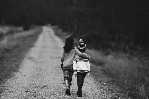 Children, Walking, Road, Distant, Supportive, Support