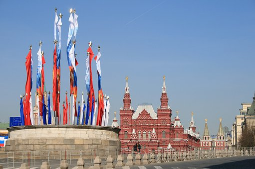 Kremlin, Victory Day, Flags, Tsar's Podium, Red Square