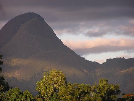 Mozambique, Mountains, Sky, Clouds, Valley, Trees
