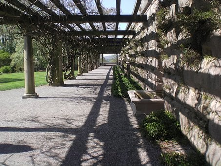 Walkway, Path, Outdoors, Open, Trellis, Wall, Columns