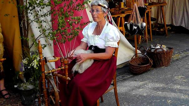 Woman, Spinning Wheel, Wool, Work, Spin, Craft, Hand