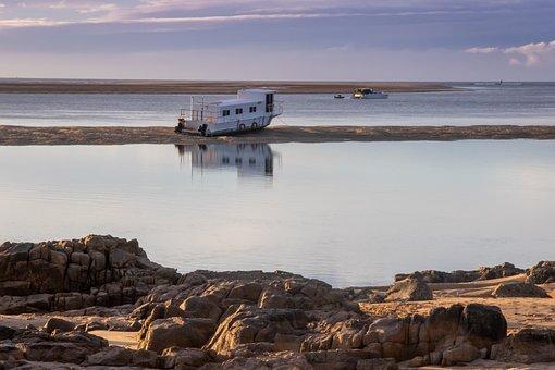 Boat, Summer, Sunset, Tides, Low Tide, Water, Creek
