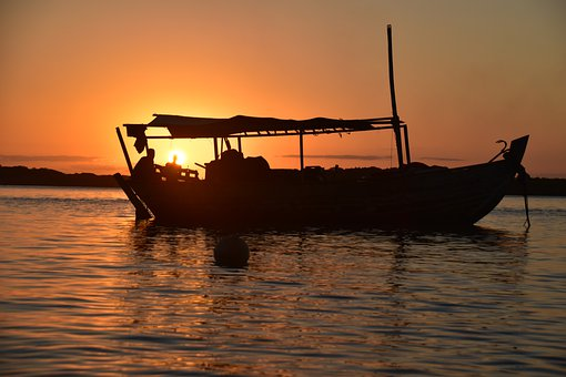 Brazil, Sunset, Boipeba, Beach, Boat