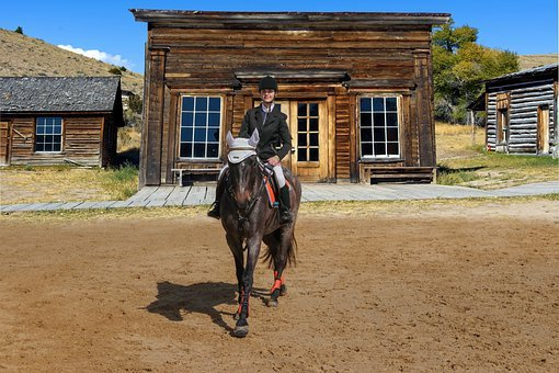 Farm, Ranch, Horse, Rider, House, Landscape, Costume