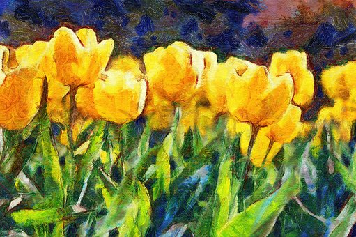 Painting, Oil, Tulips, Impressionism, Flowers, Nature