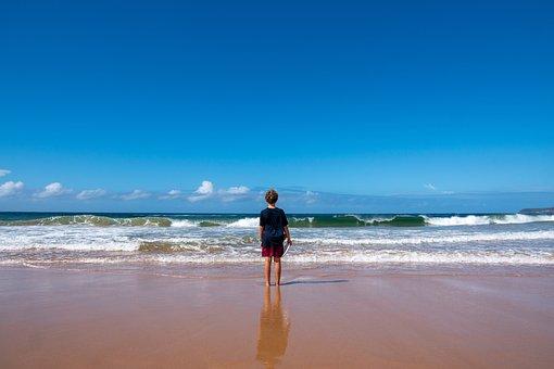 Beach, Boy, Waves, Horizon, Frisbee