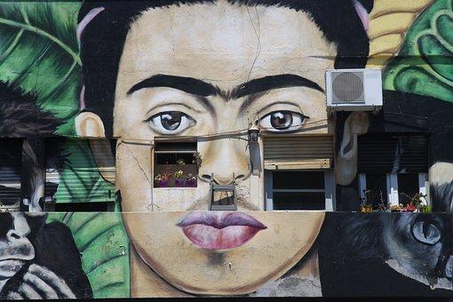 Frida Kahlo, Art, Mural, House, Flowers, Portrait